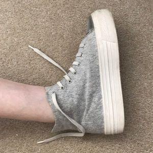 Gray platform hightop sneakers